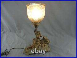 Antique Spelter Art Nouveau Lamp Conversion Electric Sea Nymph Female Maiden