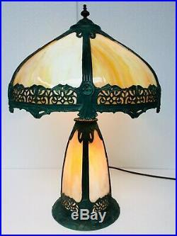 Antique Table Lamp Art Nouveau Caramel Slag Glass Light Up Base Bradley Hubbard