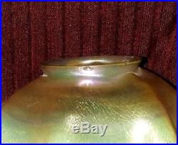 Antique Tiffany Favrile Glass Candlestick Lamp And Shade