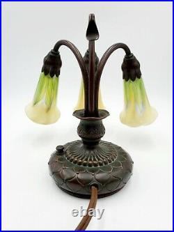 Antique Tiffany Studios NY 3 Light Bronze with Art Glass Favrile Lily Lamp #320