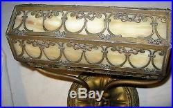 Antique USA Bradley Hubbard Student Desk Art Panel Light Lamp Art Glass Shade Bh