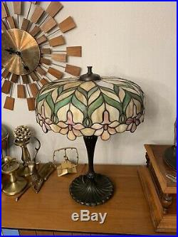 Antique Unique Art Glass Leaded Glass / Stained Glass Lamp On Wilkinson Base