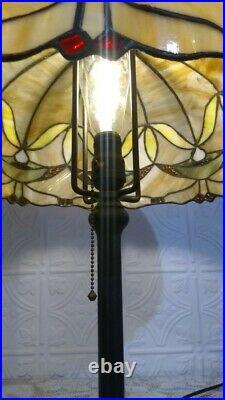 Antique Unique Arts Leaded Nouveau glass lamp Handel Tiffany arts crafts slag