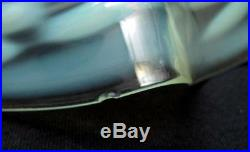 Antique Uranium Vaseline Opalescent Green Glass Oil Lamp Light Shade Art Nouveau