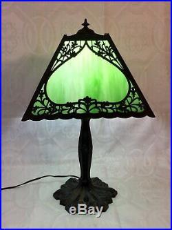 Antique VTG Art Nouveau Green Marble Slag Glass Ornate Heavy Cast Metal Lamp
