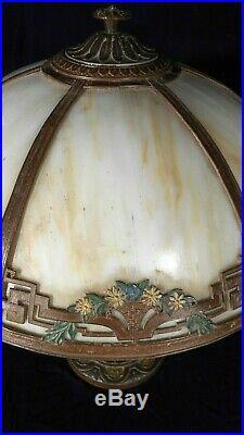 Antique Victorian Art Nouveau 6 Panel Stained Slag Glass Lamp By A&r Co