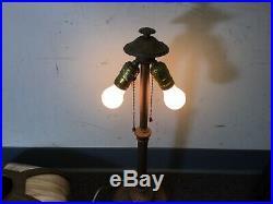 Antique Victorian Art Nouveau Bent Carmel Colored slag glass Lamp