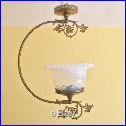 Antique Victorian Art Nouveau Gilt Ceiling Fixture Opaline Glass Shade Lamp