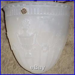 Antique Victorian Cast Opaline Art Glass Classical Design Hanging Lamp Shade