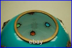 Antique Victorian Gwtw Green Glass Turquoise Art Nouveau Jeweled Oil Lamp Shade