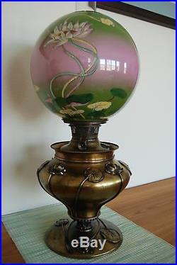 Antique Victorian Gwtw Old Arts And Crafts Art Nouveau Deco Kerosene Oil Lamp