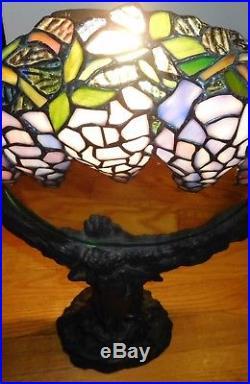 Antique Vintage Art Nouveau Stain Glass Figural Lamp Mirror