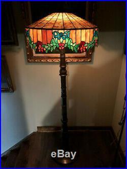 Antique Vintage Arts Crafts Bradley Hubbard Handel Era Slag Glass Floor Lamp