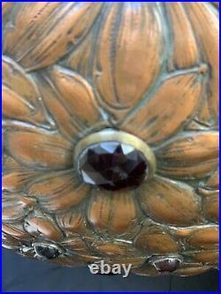Antique Vintage Jeweled Chandelier Repousse Art Nouveau Arts Crafts Mission Lamp