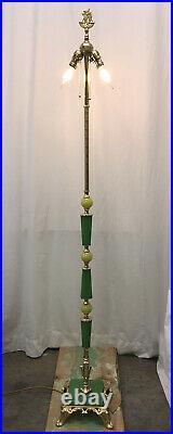 Antique Vtg Art Deco Victorian Floor Lamp Brass & Vaseline Glass, Houze, Jadeite