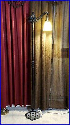 Antique Vtg Floor Lamp Cast Iron Brass Bridge Art stain glass