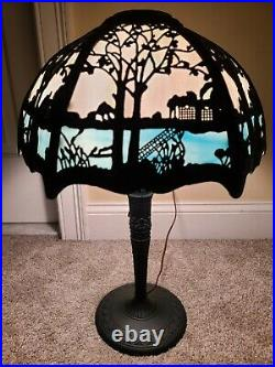 Antique Working 1920's Miller Art Nouveau Blue & White Slag Glass Table Lamp 233