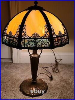 Antique Working 1920s Miller Art Nouveau Cast Iron Caramel Slag Glass Table Lamp