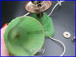 Antique c1930s Houze Uranium Glass Art Deco Dresser Nightstand Boudoir Lamp
