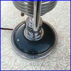 Antq Markel Art Deco Industrial Machine Age Atomic MCM Chrome Desk Boudoir Lamp