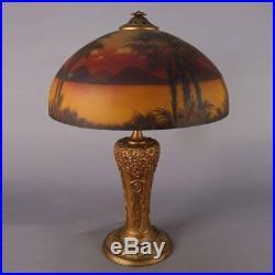 Art & Crafts Pittsburgh Reverse Painted Phoenix Table Lamp, circa 1910