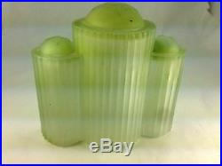 Art Deco 1920's Three Green Tower all Heavy Glass Accent Lamp/Radio Lamp