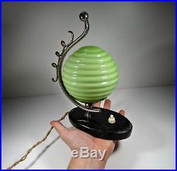 Art Deco 1930´s Table Glass Lamp Green Globe Lamp RARE