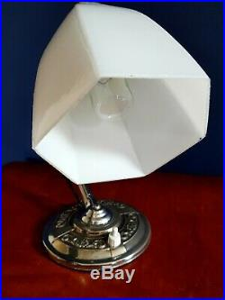 Art Deco 1930s Swan Neck Table Lamp Patina Chrome over brass Glass Shade