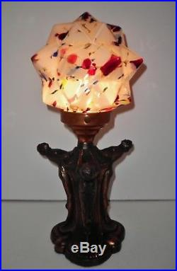 Art Deco 3 Ladies Women Figural Nudes Lamp With Vintage Glass Czech Star Shade