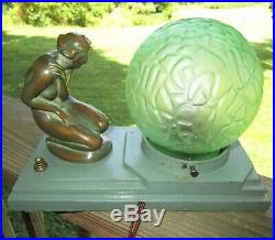 Art Deco Apt. NY Frankart Style Lady Nude Lamp With Green Glass Brain Shade Globe