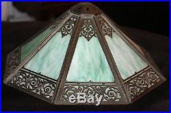 Art Deco Authentic Bradley Hubbard Brass Slag Glass Lamp Signed
