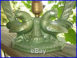 Art Deco Bird Lamp With Vintage Handel Signed & Numbered Slag Glass Shade