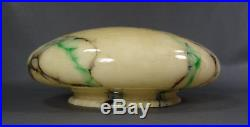 Art Deco Bohemian Czech Loetz Green Black Slag Marbled Cream Glass Lamp Shade
