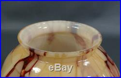 Art Deco Bohemian Loetz Cream Glass Lamp Shade Umbrella Globe Caramel Slag Vein