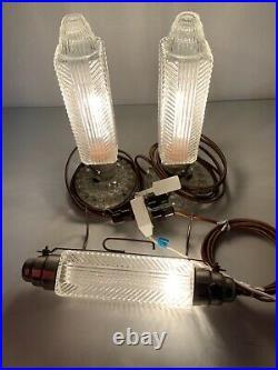 Art Deco Clear Glass Bullet Torpedo Skyscraper Boudoir Vtg Lamp Light 3 Pc Set