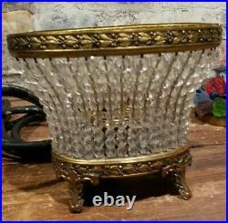 Art Deco Czech Bohemian Crystal Beaded Glass Flower Basket Table Lamp