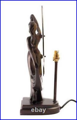 Art Deco Dancer Bronze Lady Figure Lamp Glass Shade Tiffany