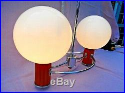 Art Deco Double Lamp Chrome Pendant Ceiling Light With Glass Globe Shades Vgc