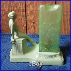 Art Deco Figural Lamp Green Glass Lamp