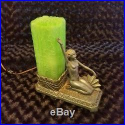 Art Deco Figural Lamp with Green Glass Pillar Shade