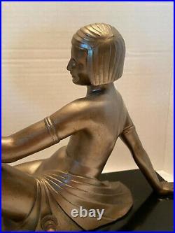 Art Deco Figural Nude Lady bronze lamp with round Millefiori Glass Globe