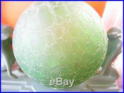 Art Deco Frankart Nuart L241 Nude Lamp Crackle Glass Globe All Original Green