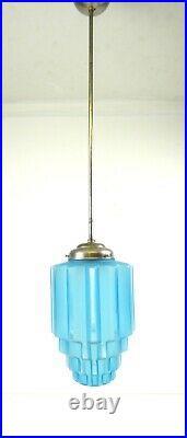 Art Deco French Opaline Glass Skyscraper Pendant Avantgarde Ceiling Lamp 1925