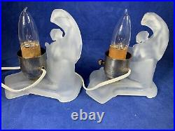 Art Deco Frosted glass Nude Lady Figural Boudoir Vanity Lamp Per Lamp b481