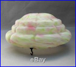 Art Deco Glass Flycatcher Lamp Shade Marbled White Green & Pink Hanging Bowl