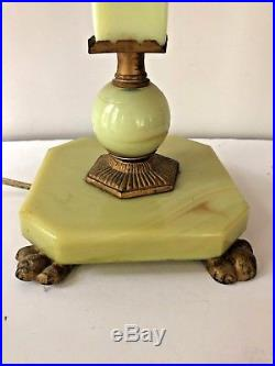 Art Deco Green Agate Slag Glass Table Lamp Vintage Antique brass Accents