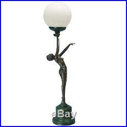 Art Deco Lady Crackle Glass Globe Table Lamp / Bronze Finish Sculpture. New