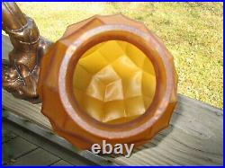 Art Deco Lady Legs In the Air Lamp Vintage Amber Glass Globe Light Shade