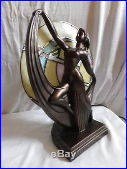 Art Deco Lady Tiffany Stained Glass Table Lamp / Bronze Sculpture
