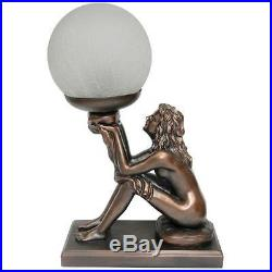 Art Deco Lamp, Bronze Look Table Lamp, Lady Holding Round Glass Shade